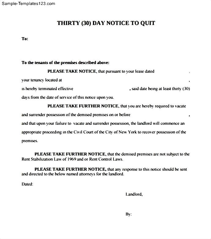 30 days notice letter to quit sample templates sample templates 30 days notice letter to quit thecheapjerseys Image collections