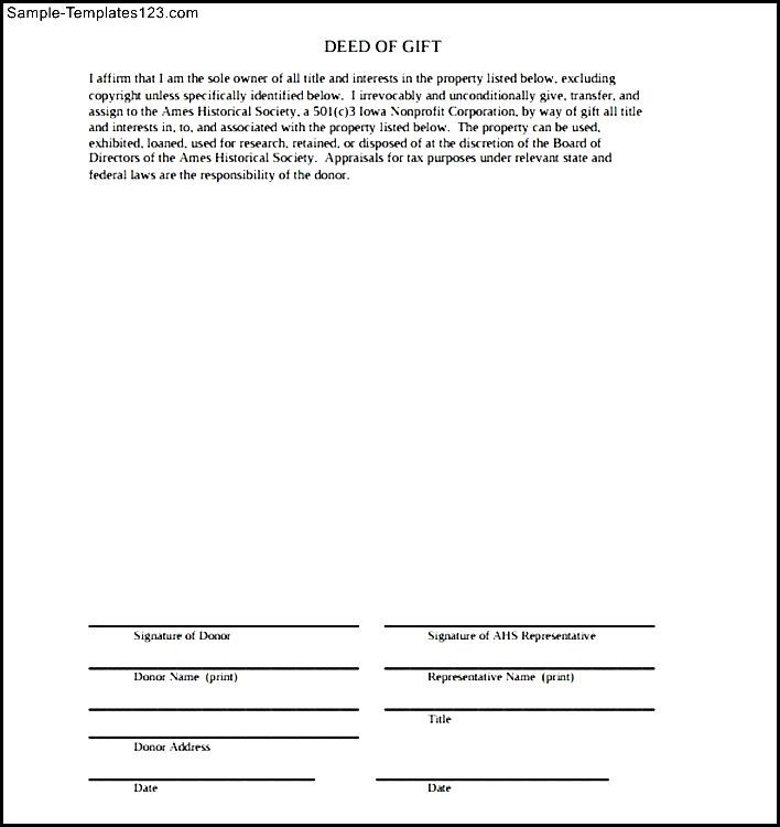 AMES Deed Of Gift Form - Sample Templates - Sample Templates