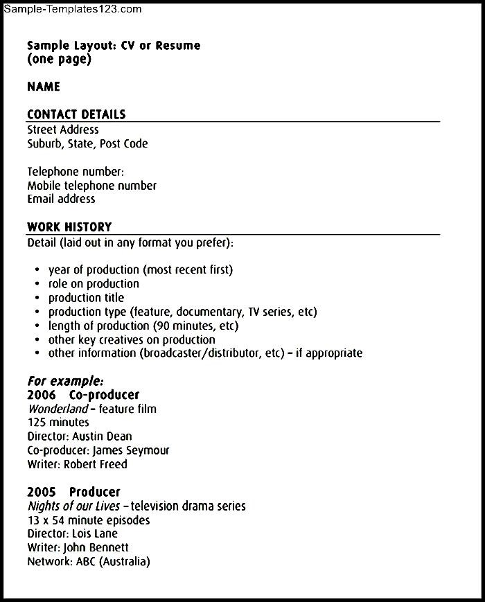 Acting CV Template Free Printable | Sample Templates