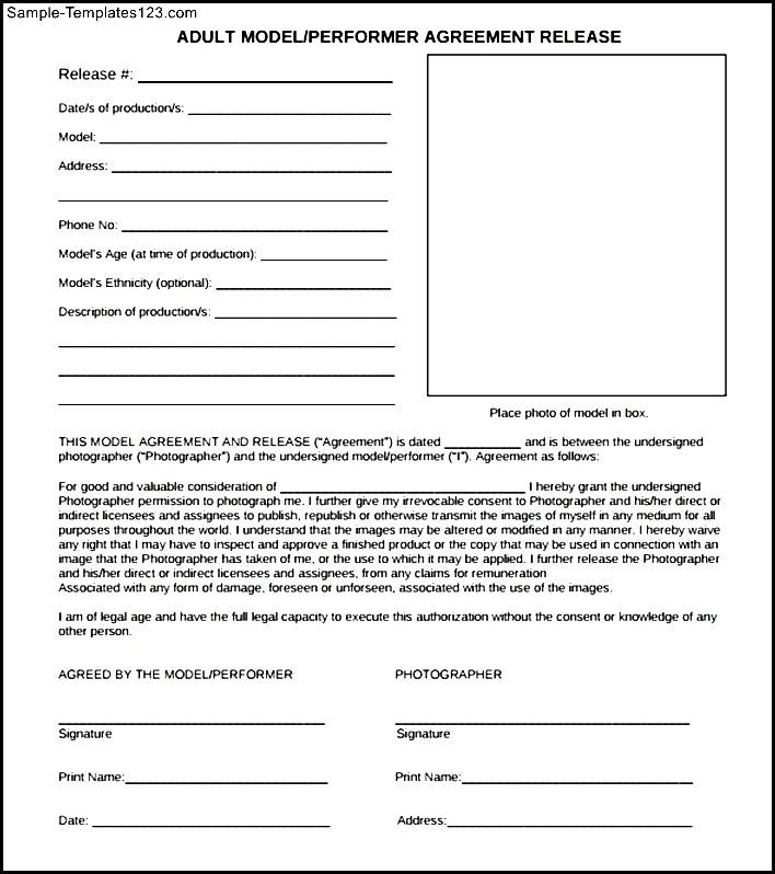 Adult Model Release Form Sample Templates