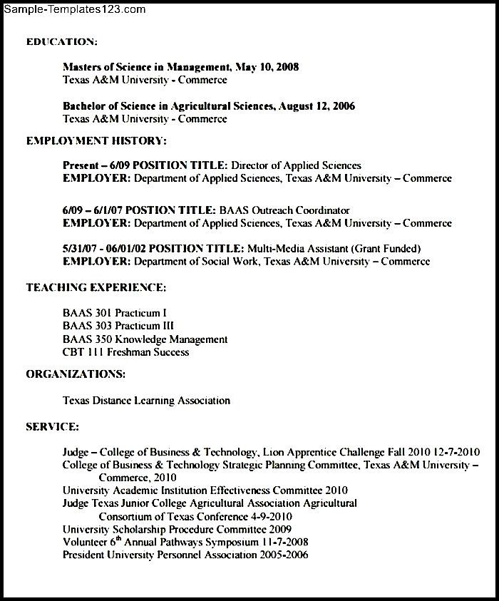 Agriculture Resume Format | Sample Templates