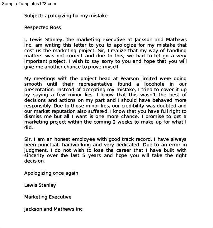 Apology Letter for Mistake at Work to Boss - Sample Templates ...