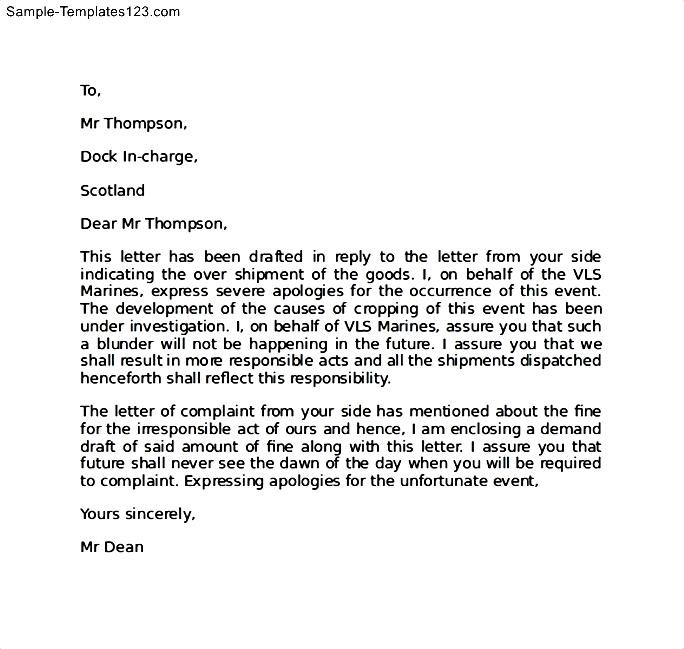 Complaint letter for late delivery of goods 28 images apology complaint letter for late delivery of goods apology letter for wrong delivery of goods sle templates altavistaventures Image collections