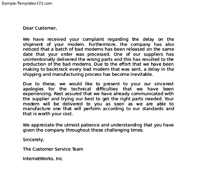 apology letter to customer for defective product