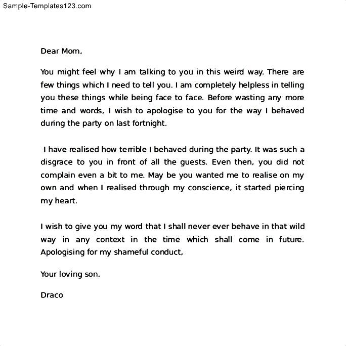 Apology Letter to Mom for Behavior Sample Templates Sample Templates