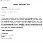 Application Letter for School Branch Transfer Sample