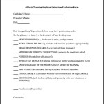 Athletic Training Applicant Interview Evaluation Form