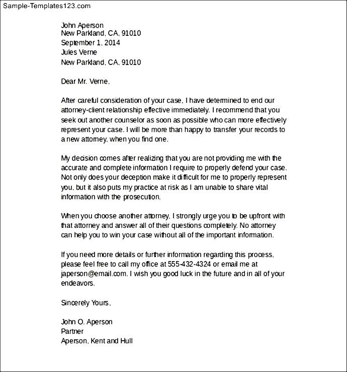 attorney client termination letter sample templates