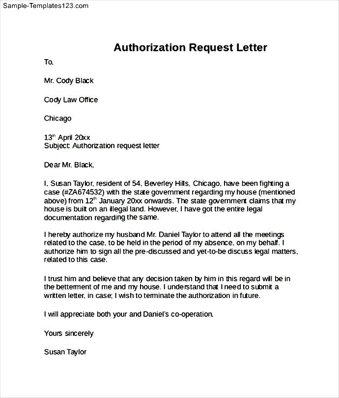 Authorization request letter sample templates sample templates spiritdancerdesigns Image collections