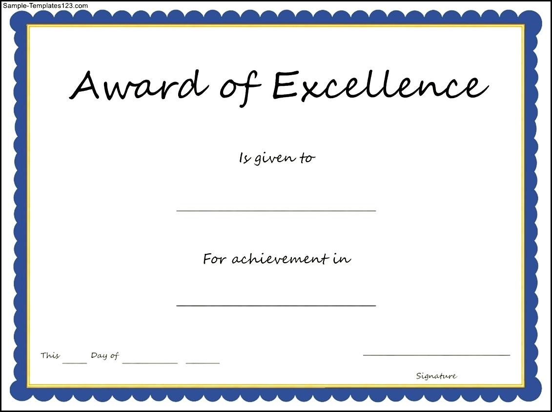 award of excellence certificate template sample