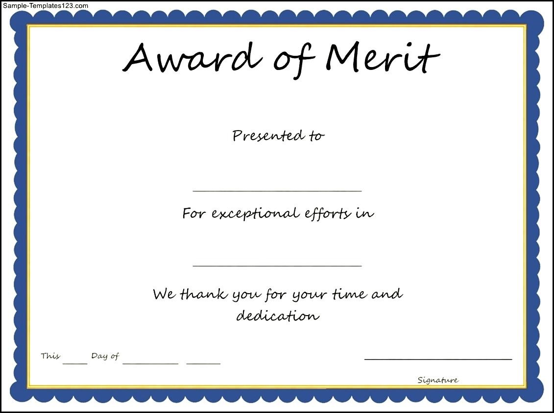Free Template for Merit Certificate
