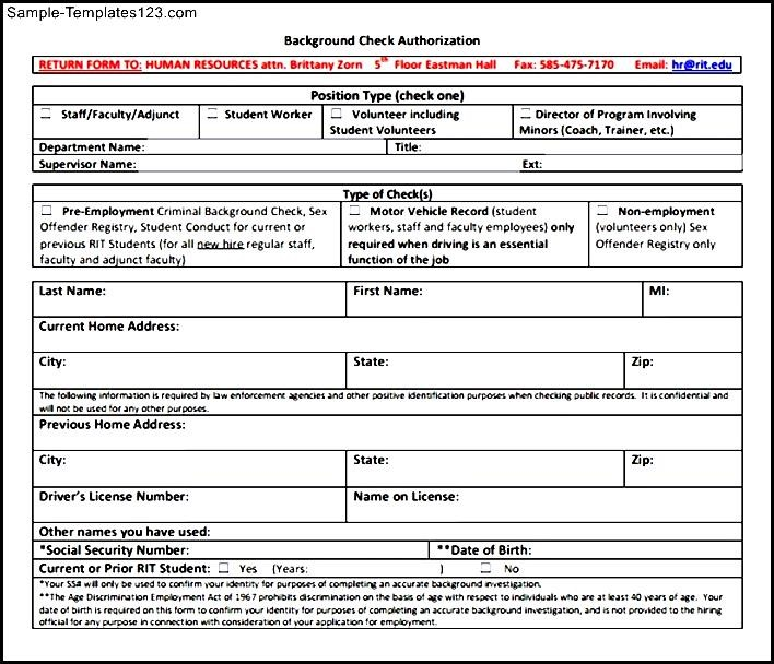 Background check form template sample templates sample templates for Background check form template free