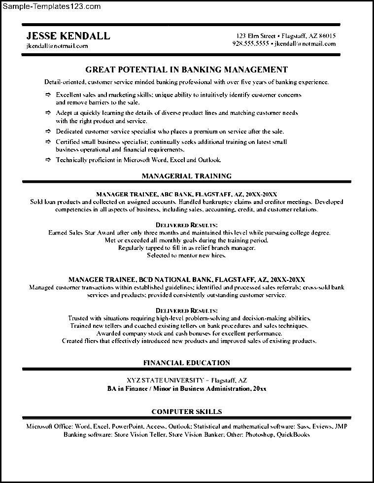banking manager resume
