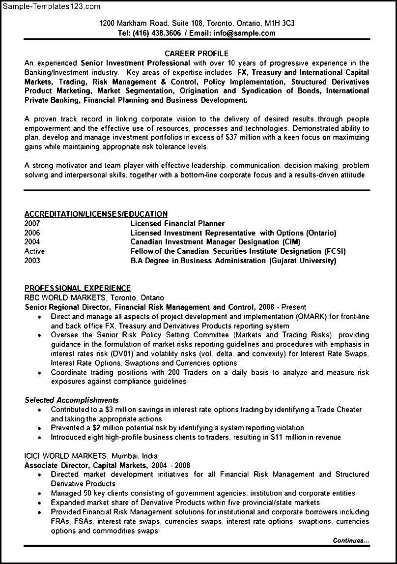 banking investment resume format template  sample templates