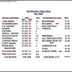 Bar Price List Template Free