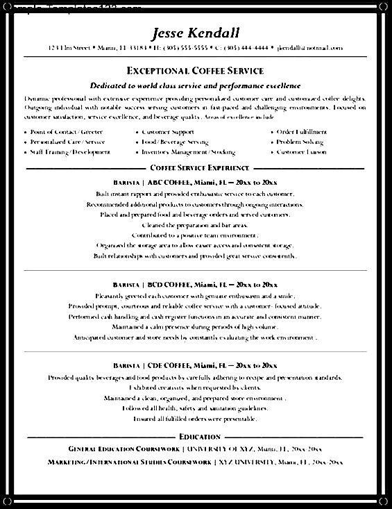 barista resume description sle sle templates