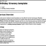 Birthday itinerary template Example Format Free Download