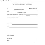 Blank Notarized Letter of Residency Download