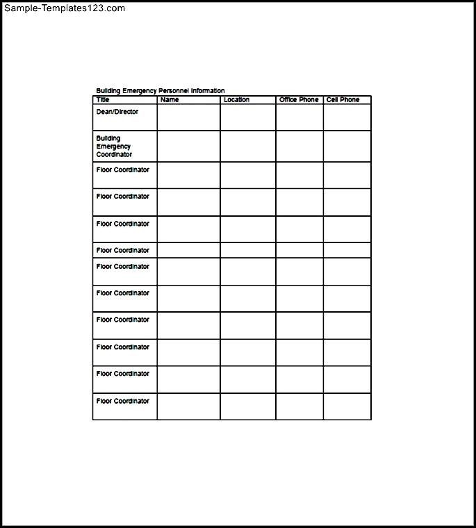 Building Emergency Action Plan Template Sample Templates