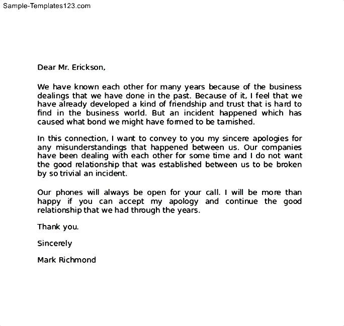 Business Apology Sample Letter Sample Templates Sample Templates