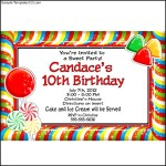 Candy Party Personalized Invitation at Birthday