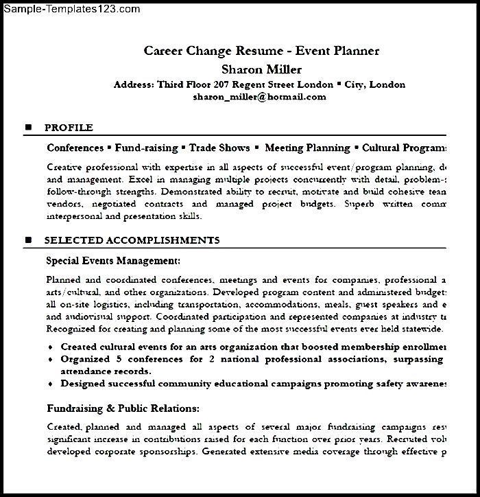 career change resume event planner resume sample pdf