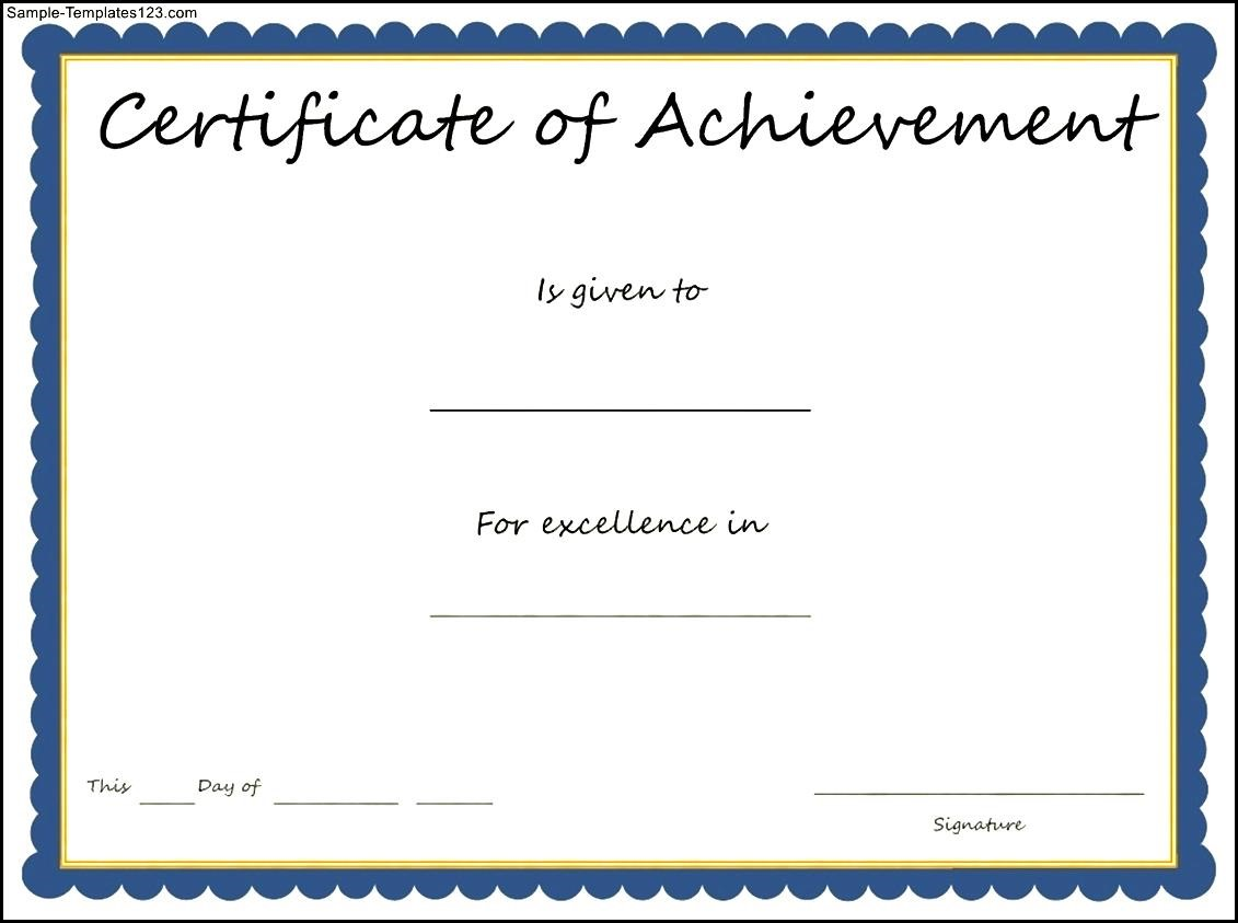 certificate of achievement template sample templates