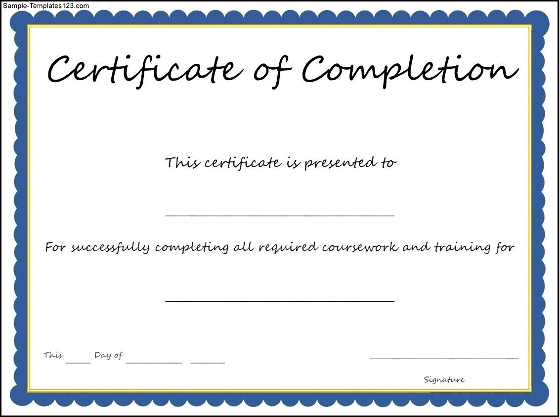 certificate of completion template sample templates