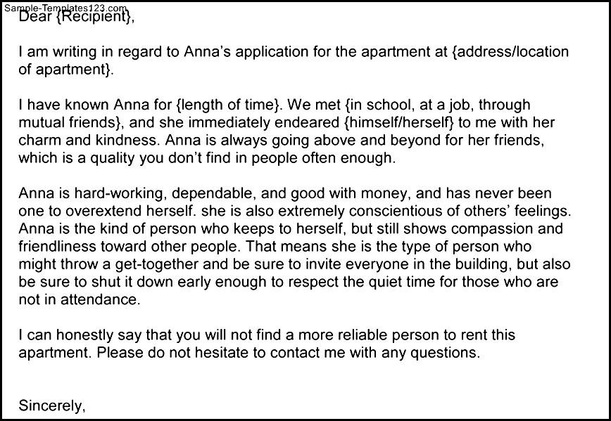 Character Reference Letter For Apartment Image Collections   Letter .