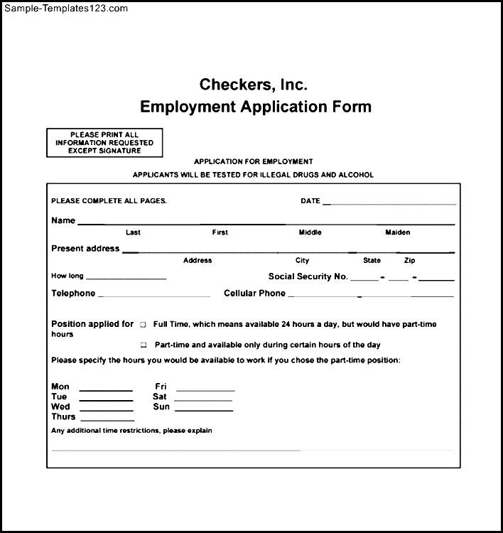 Checkers Employee Application Form   Sample Templates