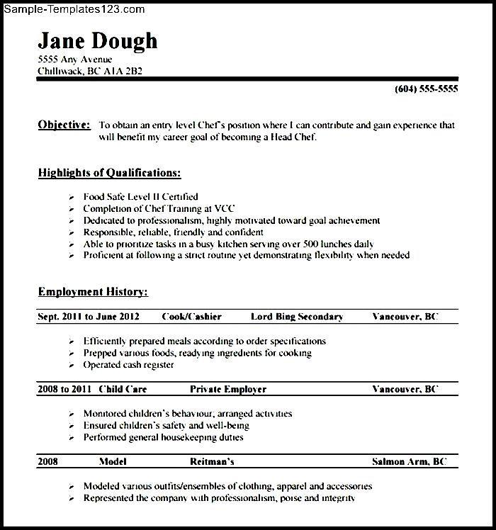 chef resume writing sample - sample templates