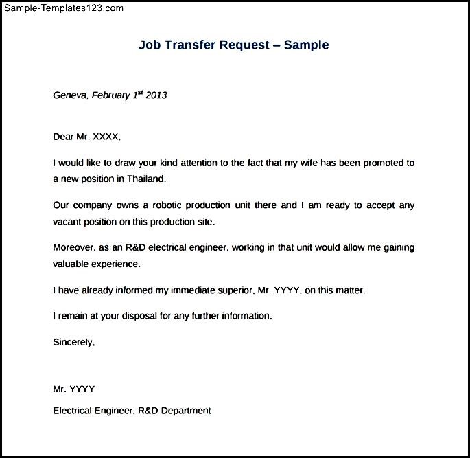 Chronicle HR Job Transfer Request Sample PDF - Sample ... on incident report letter template, change of address letter template, notice of default letter template, requisition letter template, employee benefits letter template, rental agreement letter template, release of information letter template, formal complaint letter template, work order letter template, overpayment letter template, counter offer letter template, loan application letter template, insurance claim letter template, change order letter template, employment application letter template, purchase order letter template, withdrawal letter template, settlement offer letter template, staff letter template, grant application letter template,