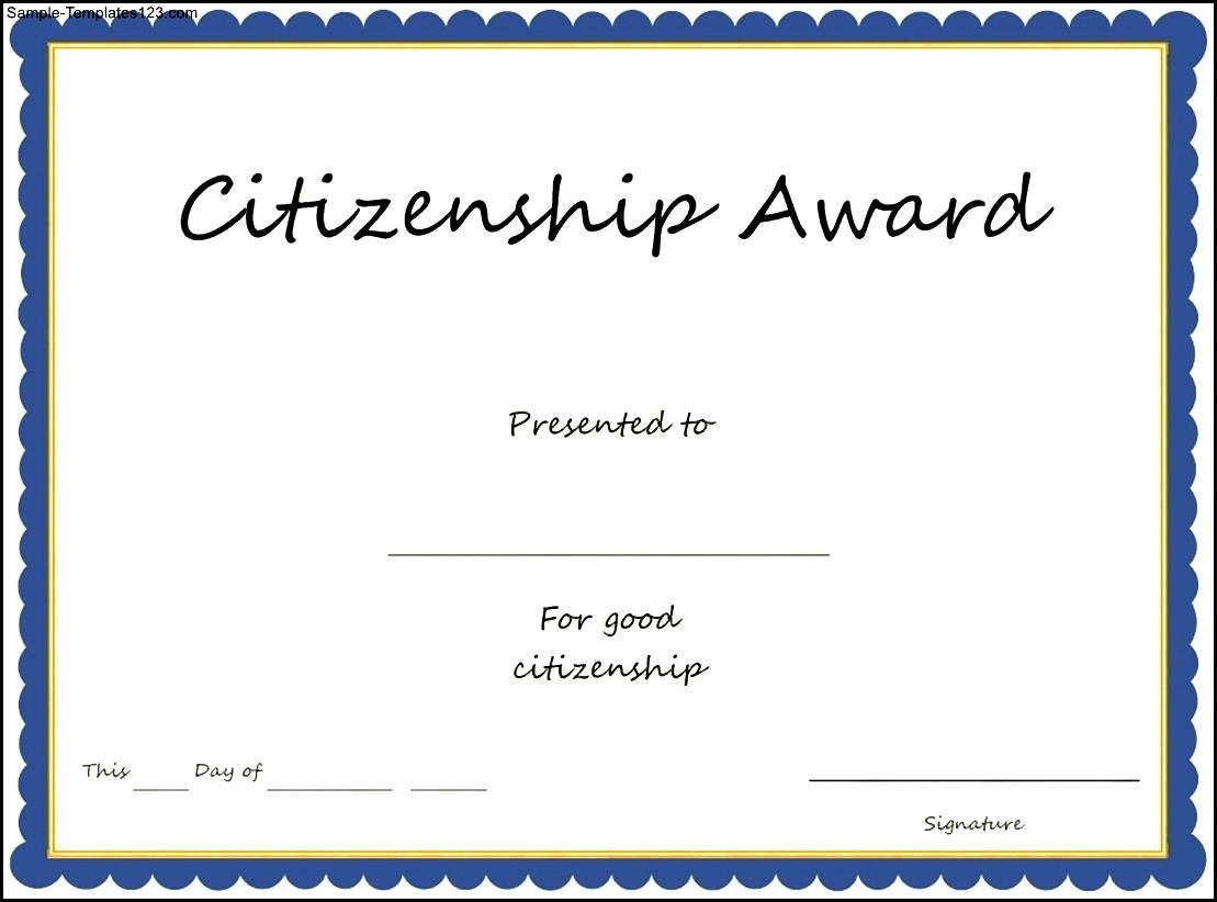 Citizenship Award Certificate Template Sample Templates Sample