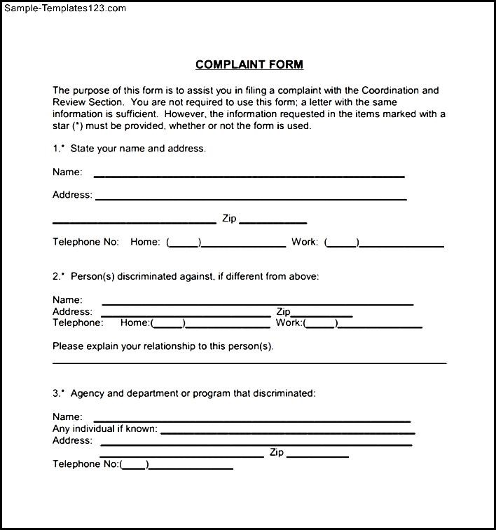 Civil Complaint Form Example   Sample Templates   Sample Templates