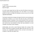 Closing a Business Example Letter