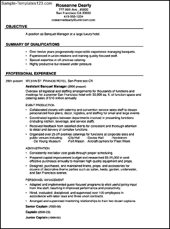 combination resume sample banquet manager sample templates