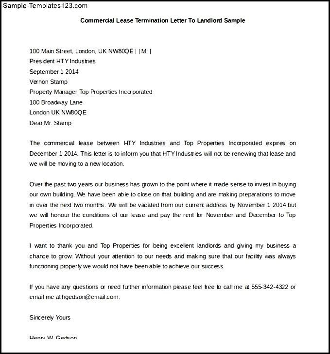 commercial lease termination letter to landlord - Etame.mibawa.co