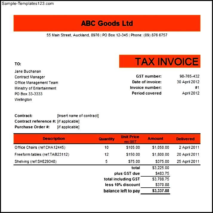 Australian Tax Invoice Template Excel