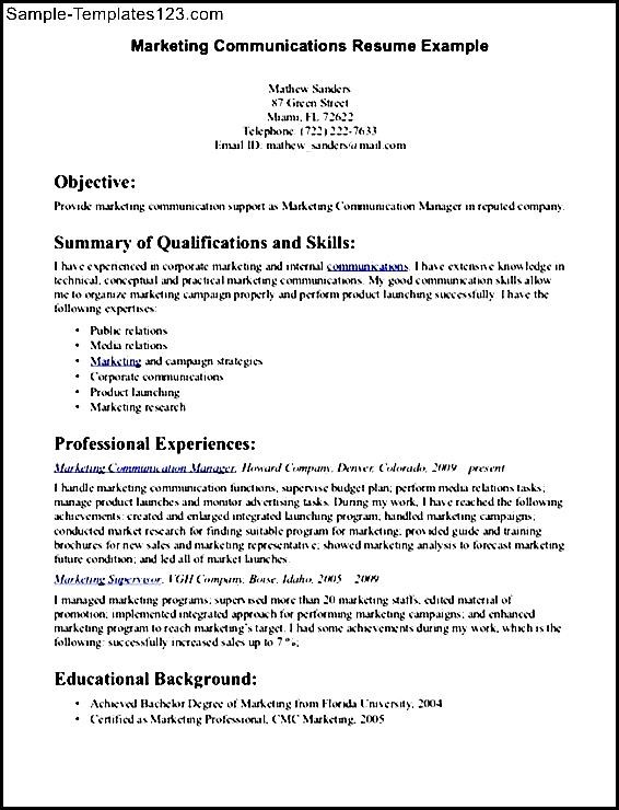 communication skills for resume sample - sample templates