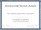 Community Service Award Template