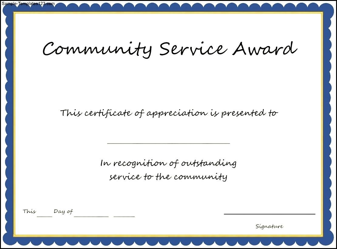 Certificate of recognition award templates agreement for services community service award template sample templates community service award template community service award templatehtml certificate of recognition award yadclub Images