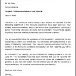 Confirmation of Job Transfer Letter Template