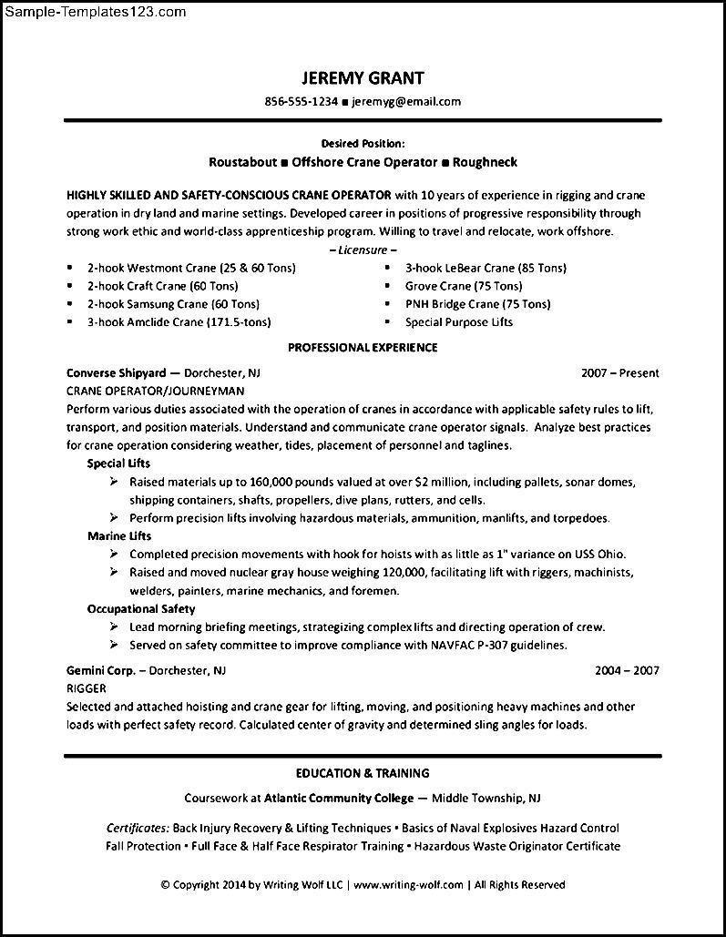 construction operator resume sle templates