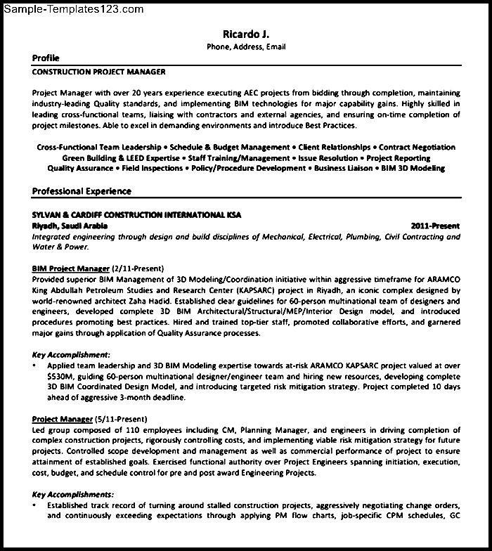 construction resume sample pdf  sample templates  sample