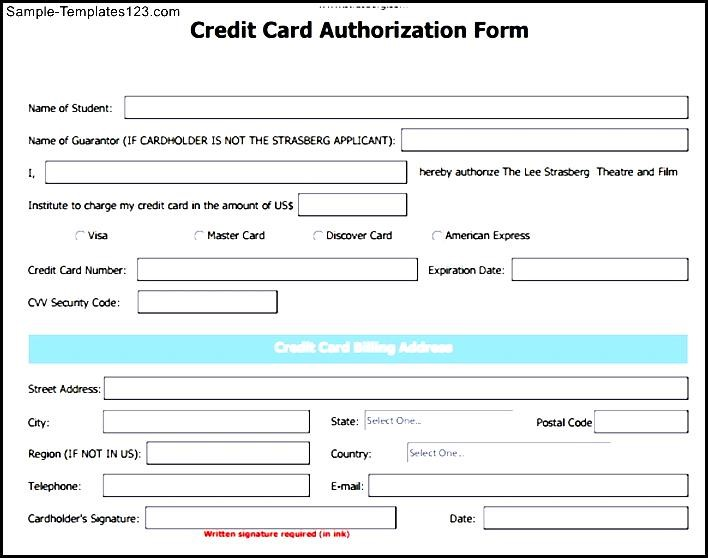 Credit Card Authorization Form 6 Free Blank Credit Card