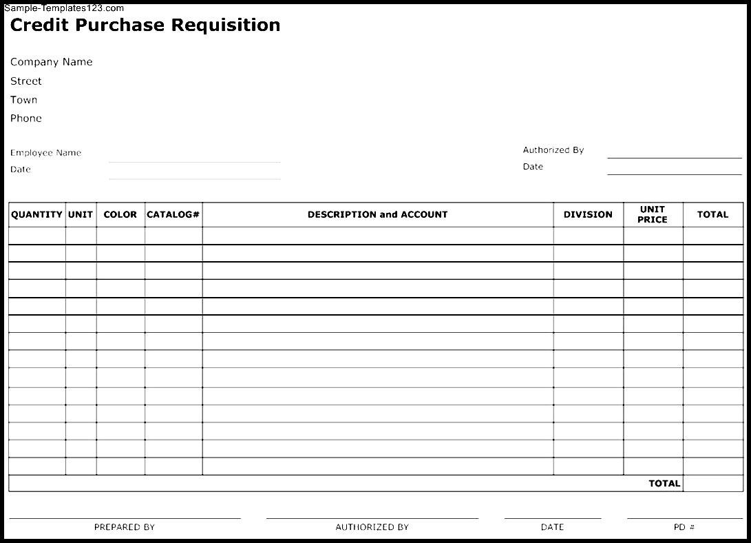 Credit Purchase Requisition Form Template - Sample ...