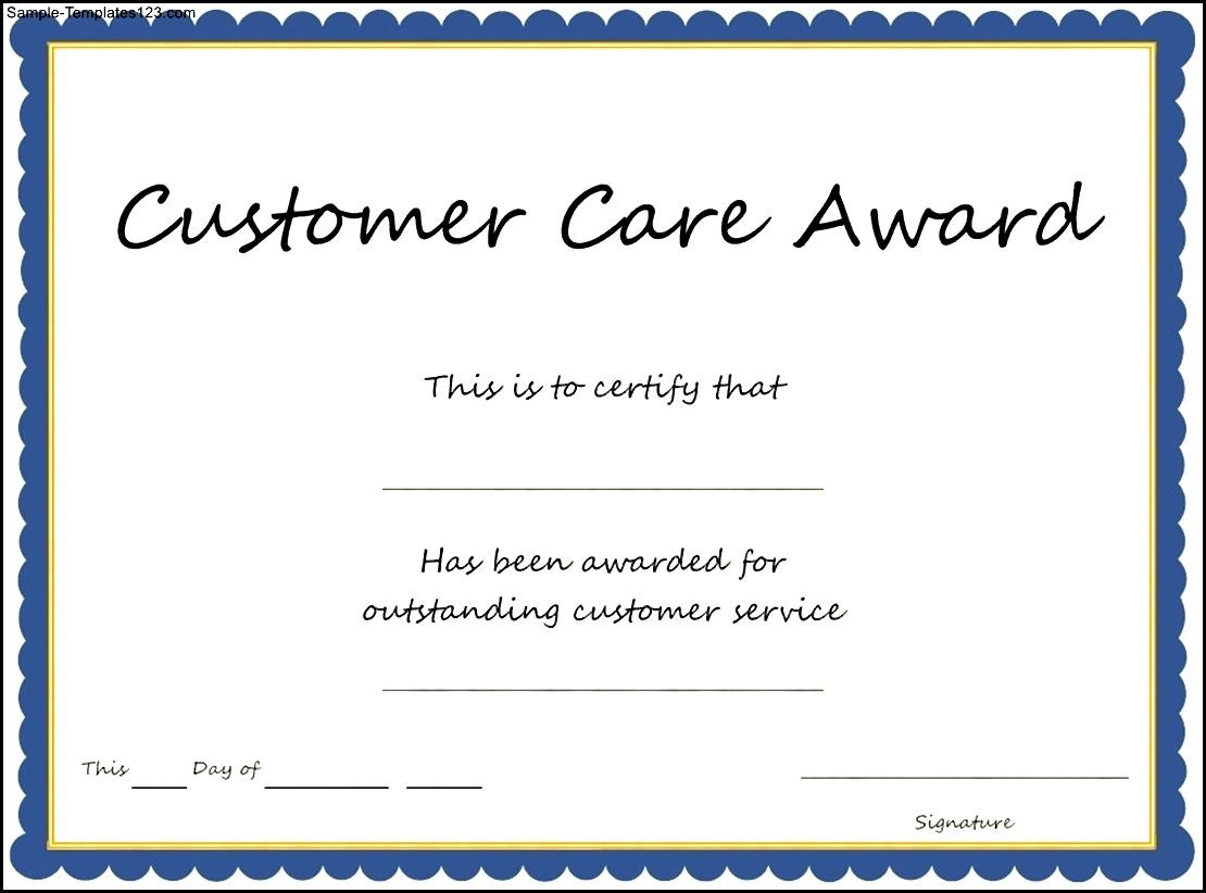 customer service award certificate templates | trattorialeondoro