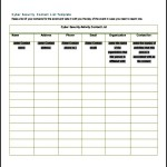 Cyber Security Contact List Template