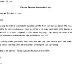 Daycare termination Letter From Parent