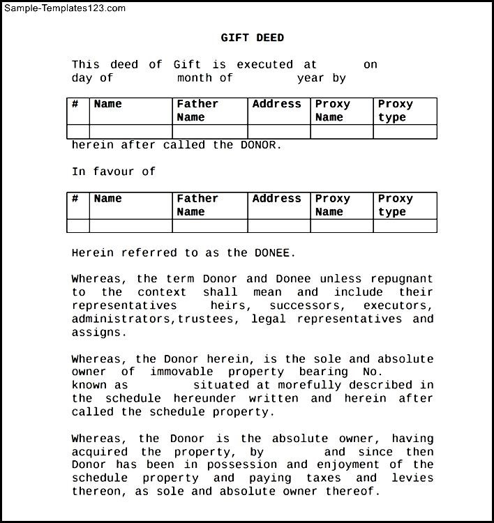 Deed Of Gift Form - Sample Templates - Sample Templates